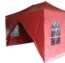 Partytent PVC Easy Up 2,4 x 2,4 meter HEX met zijwanden in Rood