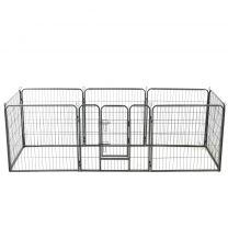Hondenren met 8 panelen 80x80 cm staal zwart