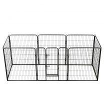 Hondenren met 8 panelen 80x100 cm staal zwart