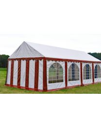 Premium Partytent PVC 4x10x2 mtr in Wit-Rood